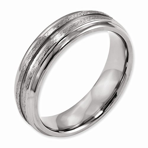(Titanium Grooved Ridged Edge 6mm Satin and Polished)