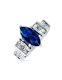 Bling Jewelry 925 Silver Marquise Simulated Sapphire CZ Engagement Ring