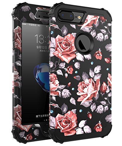 OBBCase 7plus case Rose iPhone 7 Plus Case, Three Layer Hybrid Sturdy Armor High Impact Resistant Protective Cover, 5 L, Rose Flower/Black