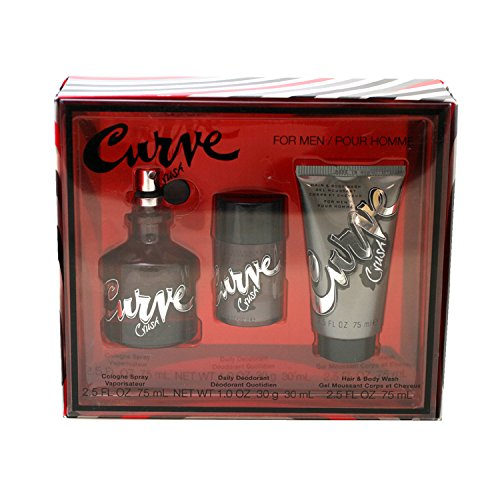 Liz Claiborne Curve Crush Men Giftset (Cologne Spray, Hair and Body Wash, Daily Deodorant Stick)