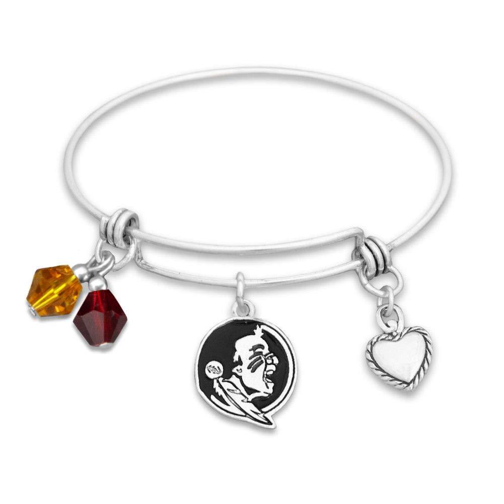 FSU Seminole College Football Bracelet Triple Charm Wire Bangle Silver