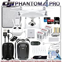 DJI Phantom 4 Professional w/ Outdoor Adventure Bundle: Includes Dual Connect iPhone/Android Cable, 3 Phantom 4 Batteries, Hard Shell Backpack, 64GB MicroSD Card and more...