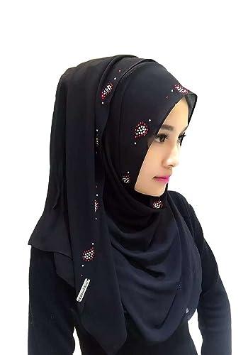 Feicuan Donna Shine Printed Musulmano Chiffon Head sciarpa Arabic Turban Islamic Hijab Fazzoletto da testa