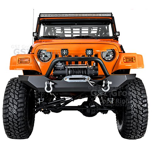 GSI 97-06 Jeep Wrangler TJ Rock Crawler Black Textured Front Bumper with Winch Mount Plate and 2x D-rings (Black)