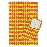 Ogee Orange Geometric Tea Towels Solar Ogee by Robyriker Set of 2 Linen Cotton Tea Towels