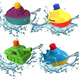 Aprice Toddler Baby Bath Toys Float Boat Mold Free Squirt Toy Bathtub Pool Kids Fun 4 Pcs