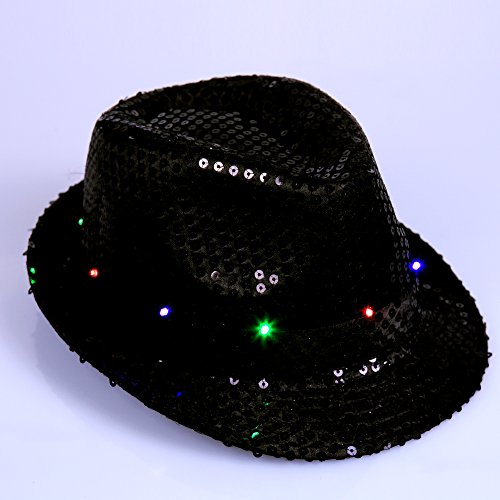 Anleolife Led Fedora Hats Black For Men Boys Flashing Led Cap Novelties Dance Hat School Show Performing Paillette Jazz Bling Hats 58cm/23'' Kids Adults General (Adult Black Cowboy Hat)