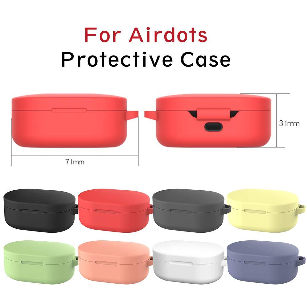 Funda para Xiaomi Mi Airdots TWS Protective Sleeve 2-Pack Protectora de Silicona L/íquida con Gancho de Alpinismo para Airdots TWS Auriculares Bluetooth Yoowei Negro /& Transl/úcido
