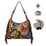 Anuschka Leather - Fringe Hobo Handbag -Handpainted, Tag & Purse Holder (Earth Song)