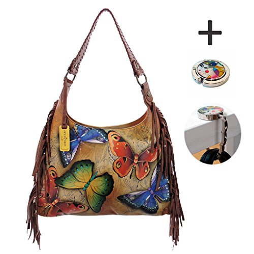 Anuschka Leather - Fringe Hobo Handbag -Handpainted, Tag & Purse Holder (Earth Song) by ANUSCHKA