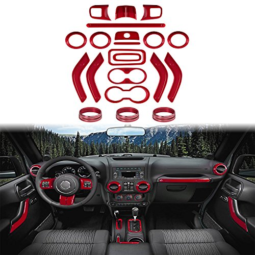 21 PCs Full Set Interior Decoration Trim Kit-Door Handle & Cup Cover, Steering Wheel & Center Console Trim, Air Outlet & AC Ring Cover for Jeep Wrangler JK JKU 2011-2018 4-door