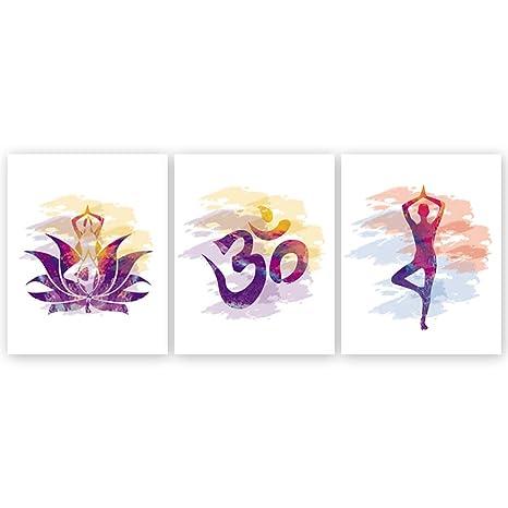 Amazon.com: Impresión de yoga sin marco, diseño de flores de ...