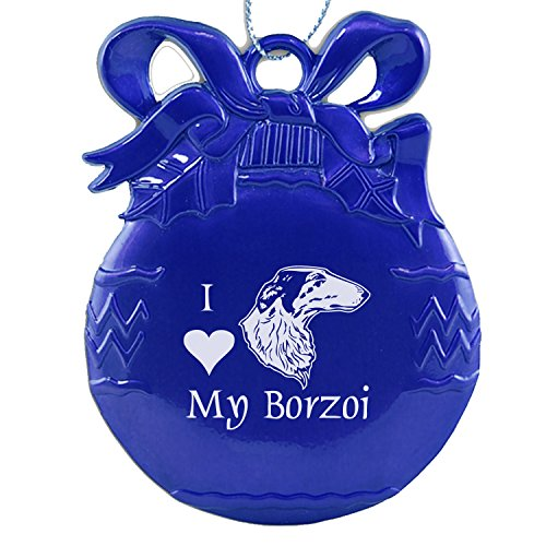 Pewter Christmas Tree Ornament-I love my Borzoi-Blue