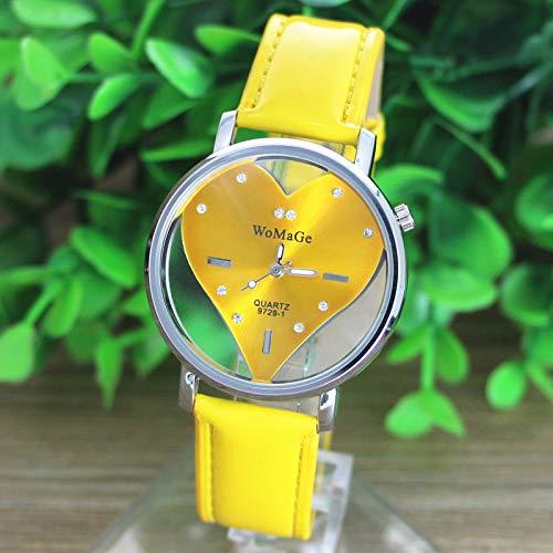 Women PU Leather Watch Transparent Dial Hollow Heart Analog Quartz Wrist Watch,Outsta 2019 Deals! Fashion Watches Round Case Wristwatch Hot!!! - Watch Fossil Transparent
