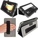"""igadgitz Negro 'Portfolio' Eco-Piel Funda Case Cover para HP Slate 7 2800 2801 7"""" Android Tablet. Con Correa de mano integrado.+ Protector de Pantalla."""