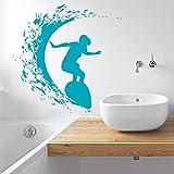 Wall Decals Surfer Surfboard Waves Sea Beach Extreme Sports Gift Kids Children Dorm Vinyl Sticker Wall Decor Murals Decal
