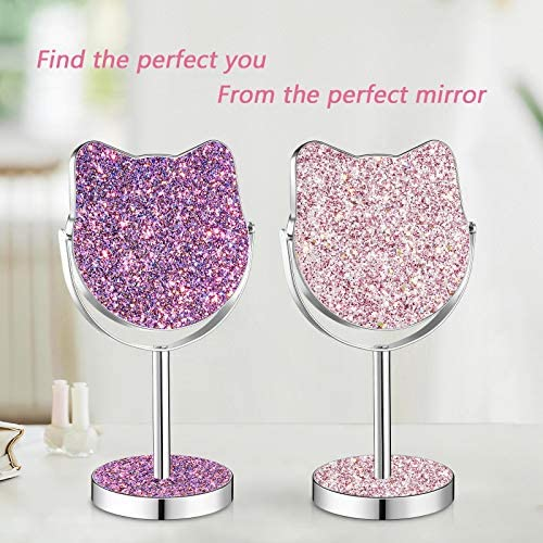 Kitty Shape Makeup Vanity Mirror,Colourful Glittering Mirror,Valentine's Day Gift Best Choice for Girlfriend Teenage Women (Voilet/Large Size)