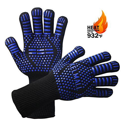 Kelmall Heat Resistant BBQ Grilling Gloves With Extra Long Oven Mitts Awesome for Kitchen Cooking Frying Baking Camping Grilling Accessories (Royal blue) Camping Grilling