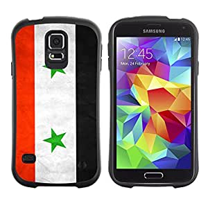 Oriz TPU / PC Hybrid Case 360 Protection Back Cover Samsung Galaxy S5 V SM-G900 - Syria Grunge Flag -