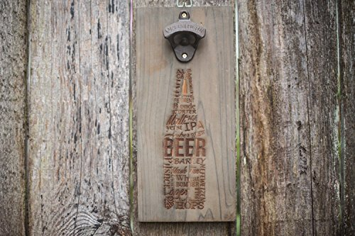 Wall mounted bottle opener rustic wood Laser Engraved Designs magnetic cap catcher (Laser With Party Caps compare prices)