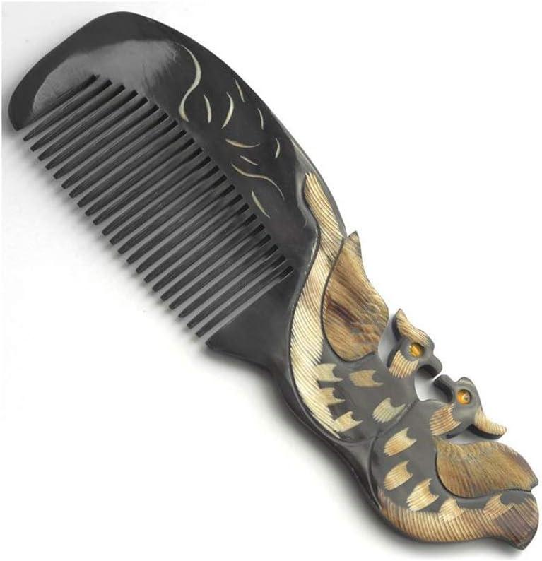 Color : 098 FENGXONG Peine de pelo negro Sin peine de dientes finos de madera est/ática Peine de cuerno de b/úfalo natural for mujeres y hombres
