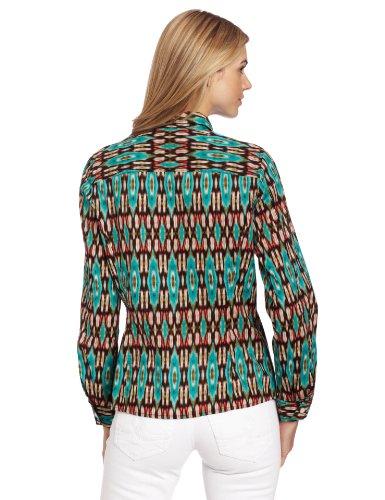 Jones New York Women's Petite Fitted Ikat Roll-Up Elbow-Sleeve Shirt