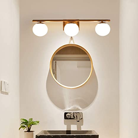 Yhtlaeh New Bathroom Vanity Light Fixtures 3 Lights Brushed Bronze Clear Globe Glass Shade Modern Wall Bar Sconce Over Mirror