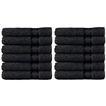 Cotton Craft - 12 Pack - Ultra Soft Extra Large Wash Cloths 12x12 Black - 100% Pure Ringspun Cotton - Luxurious Rayon Trim - Ideal for Daily Use - Each ...