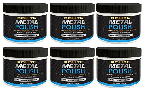 Rolite -RMP1#6PK Metal Polish Paste - Industrial Strength Scratch Remover and Cleaner, Polishing Cream for Aluminum, Chrome, Stainless Steel and Other Metals, Non-Toxic Formula, 1 Pound, 6 Pack