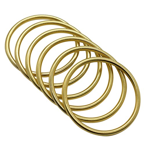 IDS Pack of 6 Round Brass Rings Metal Hoops Metal Rings for Dream Catcher Crafts Accessories, 2 Inch