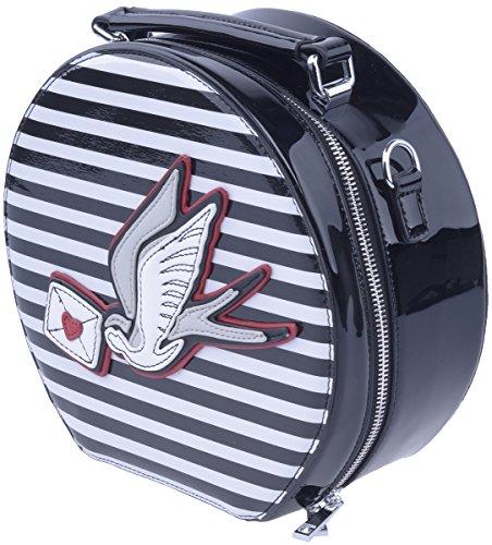 Lapin clair Sadie marin rayure hirondelle sac chapeau Vintage, Borsa A Mano Donna rayé noir et blanc avec hirondelle