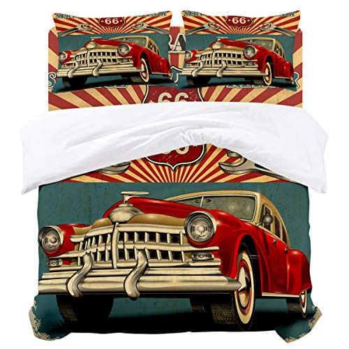 (OUR WINGS Twin Microfiber Duvet Covers-Garage Route 66 Classic Cars(68 by 86 inch),4 Piece Bedding Sets with Zipper Closure and Corner Ties,Wrinkle and Fade)