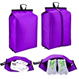 F.FETIVIN Travel Shoe Bags with Zipper Closure Lightweight Waterproof Nylon Storage Bag for Men & Women (Pack 4, Blue) (Purple)