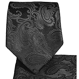 Paisley Pattern Necktie & Matching Pocket Square Handkerchief Set