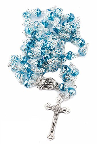 Unique Turquoise Crystal Beads Rosary Catholic Necklace Holy Soil Medal & (Crystal Rosary Cross)