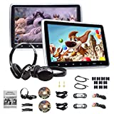 Eonon 2019 10.1 Inch Headrest Monitors, Dual Screen DVD Player Portable DVD Player for Kids Touch Screen Headrest DVD Player Digital Touch Button HDMI USB SD Port (Two Headrests-Black)-C1100A