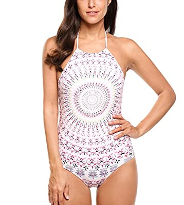 Imposes Women One Piece Swimsuit, Halter High Neck Floral Bathing Suit Monokini Swimsuit XS-XXL