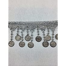 Silver Metal Coin & Beaded Fringe