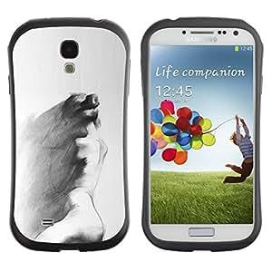 Paccase / Suave TPU GEL Caso Carcasa de Protección Funda para - Charcoal Art Sad Painting Grey - Samsung Galaxy S4 I9500