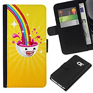 All Phone Most Case / Oferta Especial Cáscara Funda de cuero Monedero Cubierta de proteccion Caso / Wallet Case for Samsung Galaxy S6 EDGE // Rainbow on me