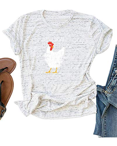 Womens Shirts Summer Short Sleeve Guess What Chicken Butt T-Shirts Casual Loose Tee Tops Marble White 4XL ()