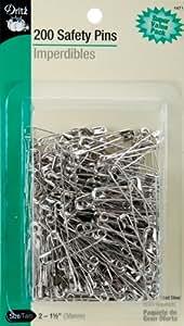 Dritz 200-Piece Safety Pins, Size 2, Nickel Finish
