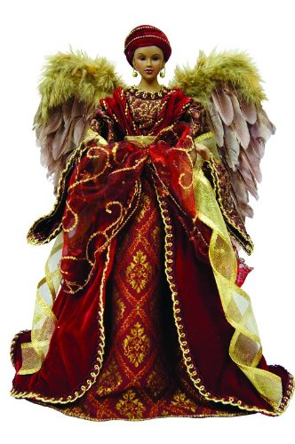 African American Diva Angel Christmas Tree Topper with Feathers