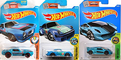 Hot Wheels Lamborghini Sesto Elemento Bundle Blue Speed series 934 Turbo RSR Blue & '73 Firebird Pontiac Blue cars in PROTECTIVE CASES ()