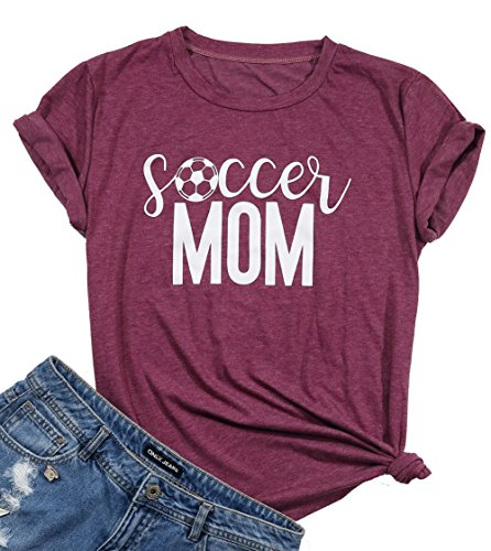FAYALEQ Soccer Mom Funny Graphic T-Shirt Women Sport Mom Short Sleeve Tee Tops Blouse Size M (Burgundy)
