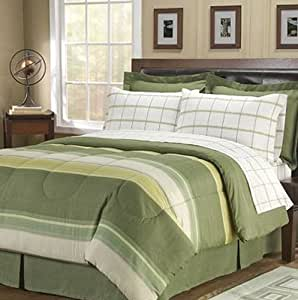 boys twin bed in a bag green striped plaid boys comforter set 6 9315