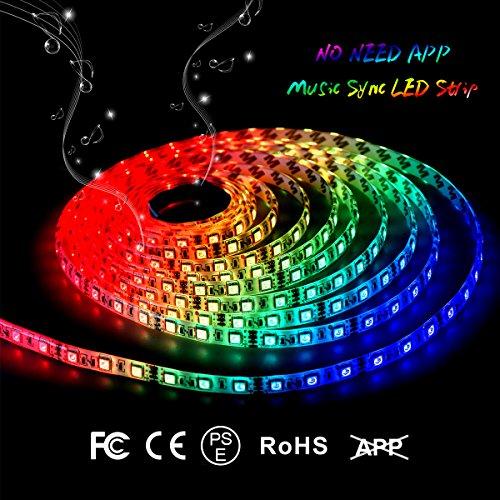 LED Light Unclothe IP65 Waterproof LED Strip Light 16.4FT Music Strobe Light Bedroom String Lights Car LED Strip Light 300 Units 5050 RGB Strip Lights by DotStone