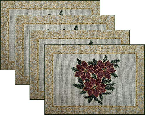 Manual Christmas Star Poinsettia Ribbon Tapestry Placemats UBCSP 18.5x13