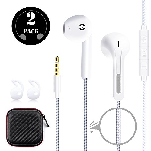 GRTF In-Ear Stereo Earphones [2 Pack] Premium Earbuds Wired braided headphones with Mic and Volume Control for iPhone/iPad/Samsung and More Android Cell phone
