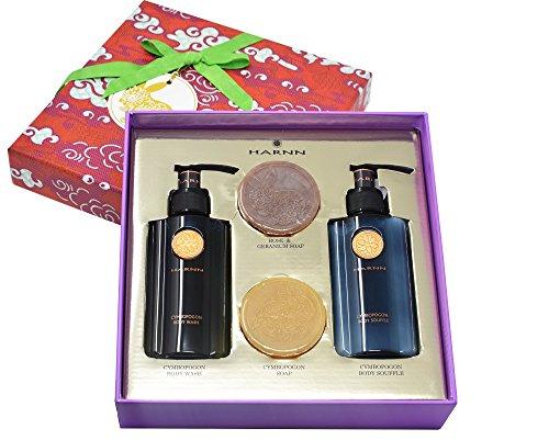 - Harnn Moon Rabbit Body Care Gift Set - Cymbopogon Body Wash, Cymbopogon Body Souffle, Cymbopogon Bar Soap, Rose & Geranium Bar Soap